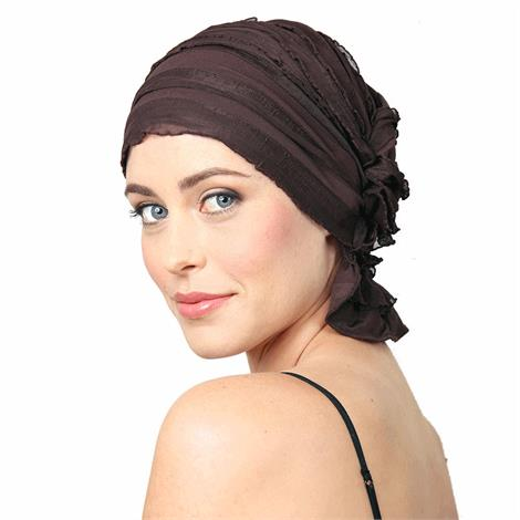 "Chemo Beanies Janice Chocolate Brown Ruffle,9"" X 6"" X 1"",Each,3028"