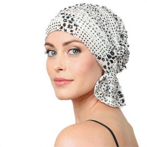 Chemo Beanies Reagan White With Black Floral Ruffle,Reagan White With Black Floral Ruffle,Each,3691