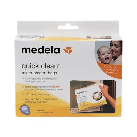 "Medela Quick Clean Micro-Steam Bags,5-1/8"" X 5-7/8"" X 1-5/8"",5/Pack,12Pk/Case,87024"
