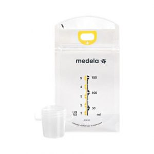 "Medela Pump & Save Breastmilk Bags With Easy-Connect Adapter,6-3/16"" X 4-1/4"" X 1-1/2"",20/Pack,12Pack/Case,87233"