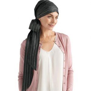 Amoena Calla Cotton Scarf With Long Sashes,Black Denim,Each,43818